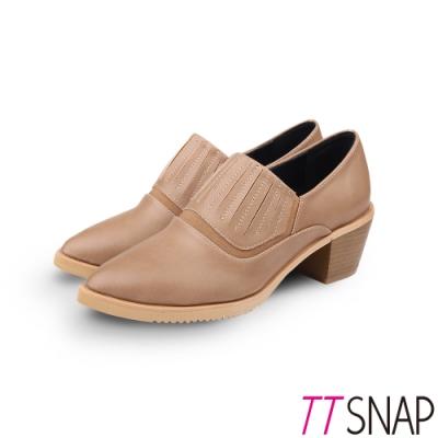TTSNAP裸靴-簡約尖頭顯瘦靜音中跟鞋 駝