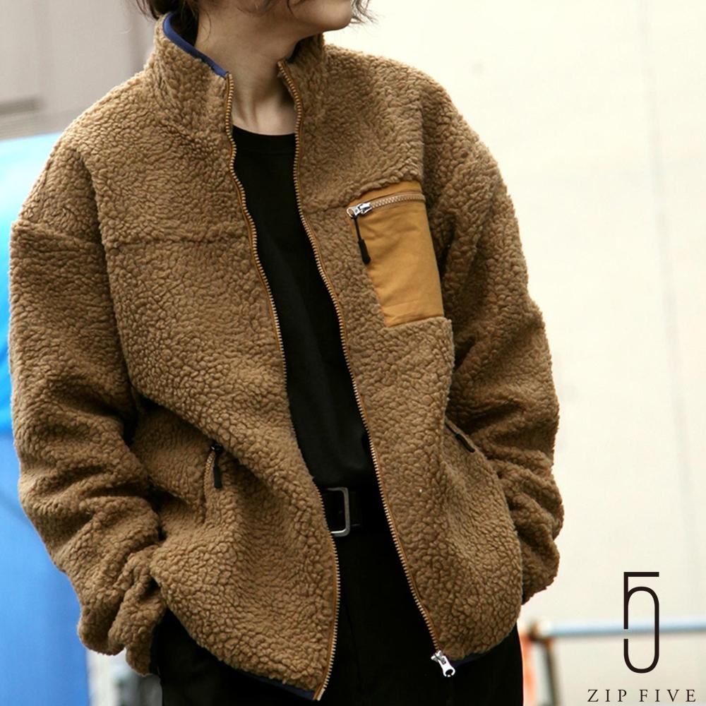 ZIP日本男裝 異素材拼接毛茸茸BOA絨毛立領夾克外套 (11色) product image 1