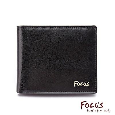 FOCUS原皮時尚黑雙透明窗左右掀拉鏈男短夾(FGB2245)