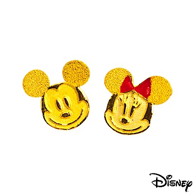 Disney迪士尼系列金飾 黃金耳環-搖擺米奇美妮大頭款
