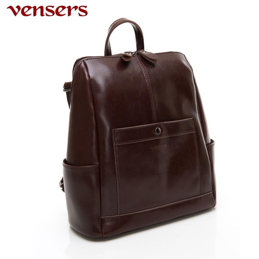 【vensers】小牛皮潮流個性包~多功能後背包/斜背包(NL1081201咖啡)