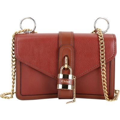 CHLOE Aby Chain 鎖頭系列山羊皮鍊帶側背包(小款/紅棕色)