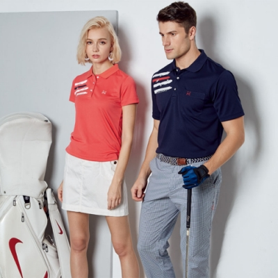 Abel Fox s Sports藍格紋熱昇華短袖polo衫-F5203A-14