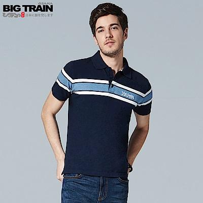 BigTrain 加大寬版條紋POLO衫-男-深藍