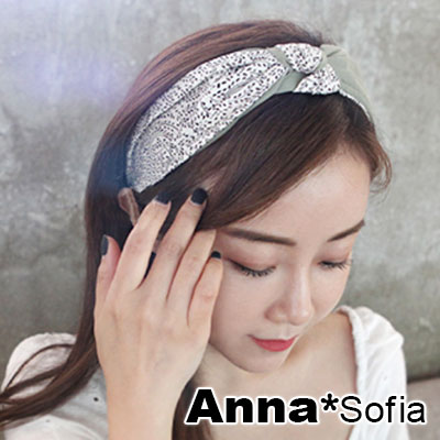 AnnaSofia 雙拼小森葉紋中央結 韓式寬髮箍(綠米系)