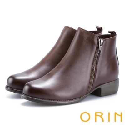 ORIN 經典復古 牛皮雙拉鏈低跟短靴-咖啡