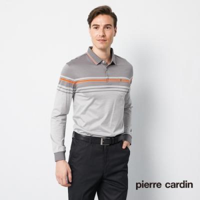 Pierre Cardin皮爾卡登 男裝 定位條紋長袖polo衫-灰色(5205203-95)