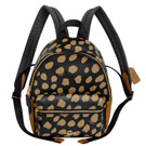 COACH黑駝小鹿斑紋圖印PVC拼接真皮小款後背包