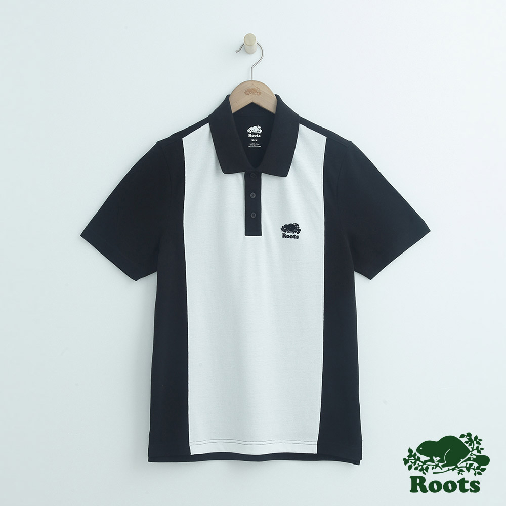 男裝Roots 撞色短袖POLO衫-黑