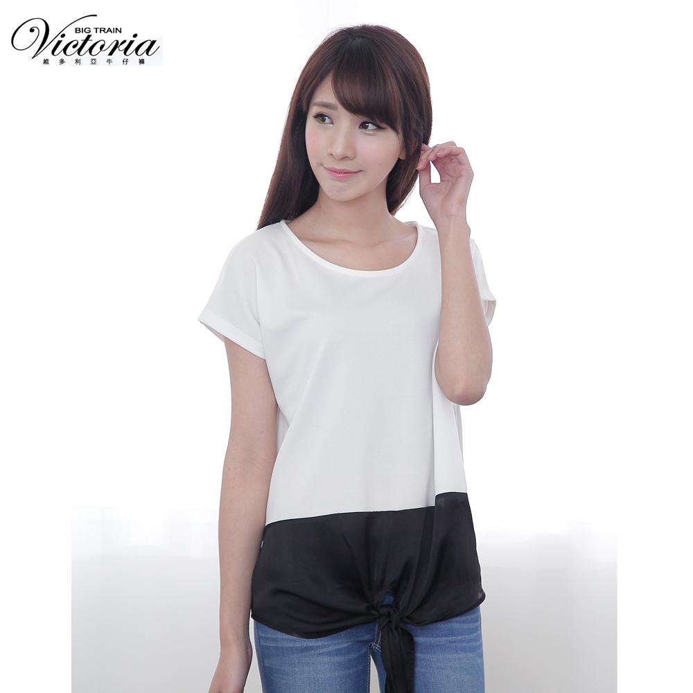 Victoria 下擺異材質撞色寬鬆短袖T-女-白色