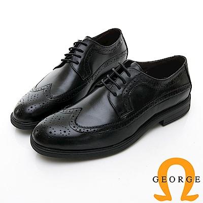 【GEORGE 喬治皮鞋】尊爵系列 漸層雕花綁楦頭紳士皮鞋-黑色