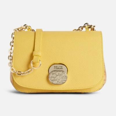 Alviero Martini 義大利地圖包 輕奢質感 鍊帶斜揹小包包-黃色