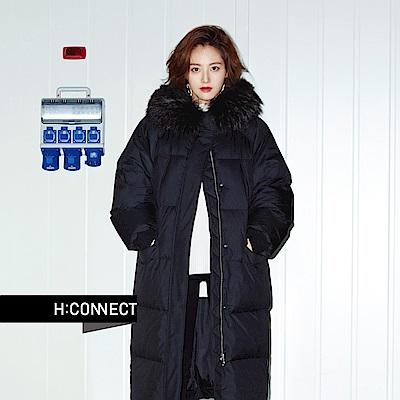 H:CONNECT 韓國品牌 女裝-側拉鍊長版羽絨外套-黑