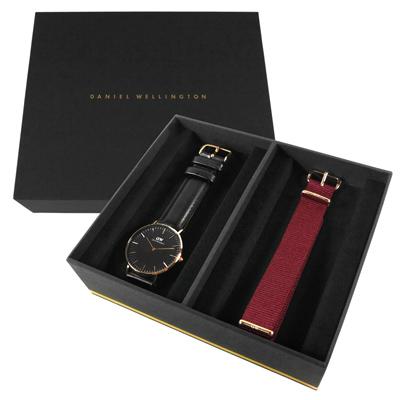 Daniel Wellington 真皮帆布手錶禮盒套組-黑x玫瑰金框/36mm