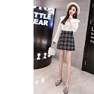 2F韓衣-雙排扣格紋造型短裙-深灰L