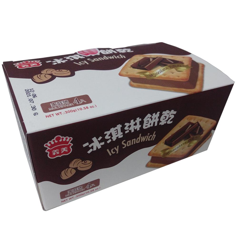 任- 義美 巧克力冰淇淋餅乾家庭號(75gX4個/盒)