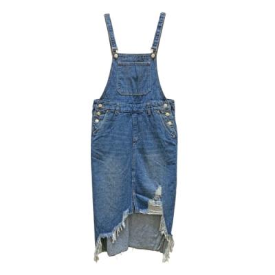 割破抽鬚吊帶牛仔裙 TATA-(M~XL)