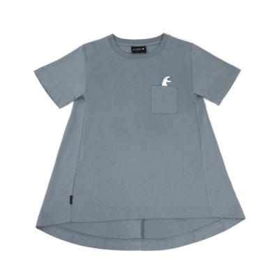 agnes b. - Sport b. 恐龍印花口袋圓領短袖上衣(女)(藍)
