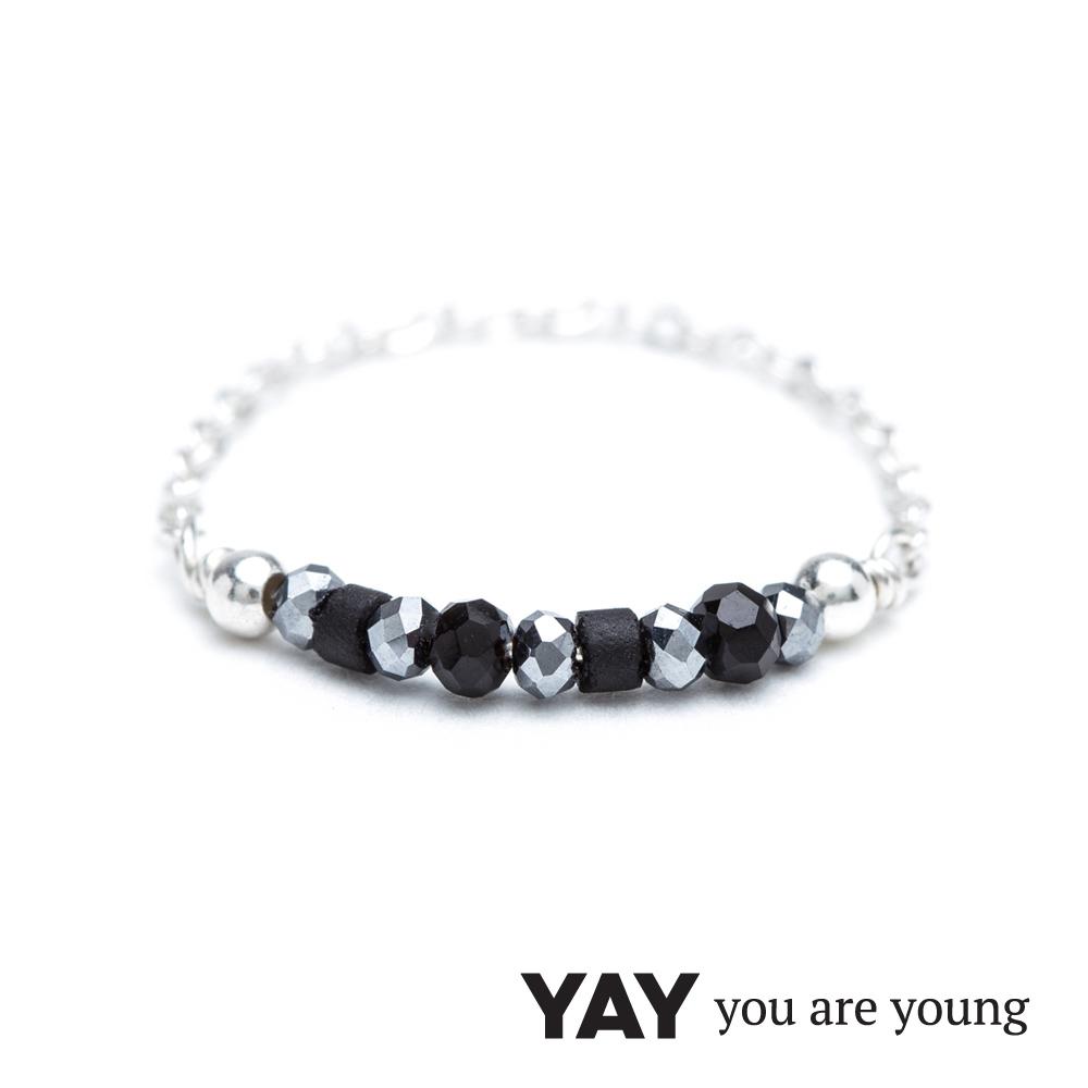 YAY You Are Young Black Swan 星辰豆豆灰寶石鍊戒 銀色