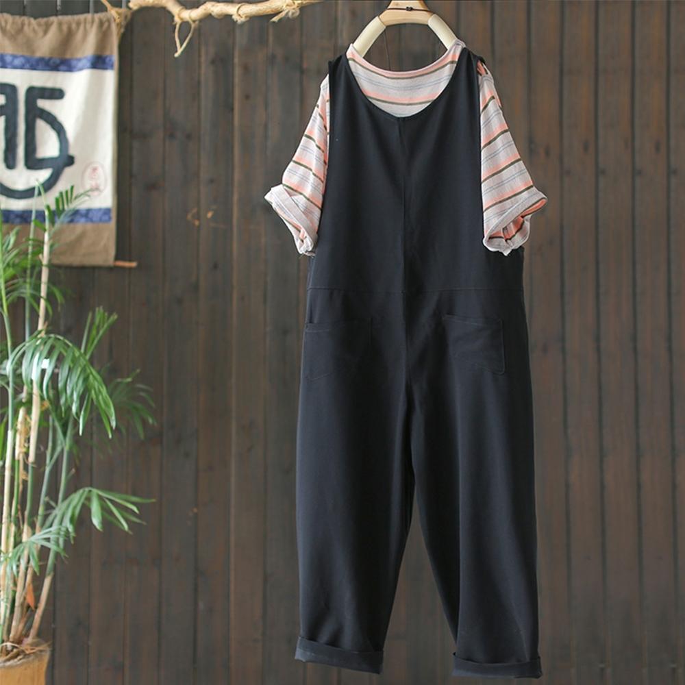 黑色顯瘦V領寬鬆休閒直筒背帶連身褲子-設計所在