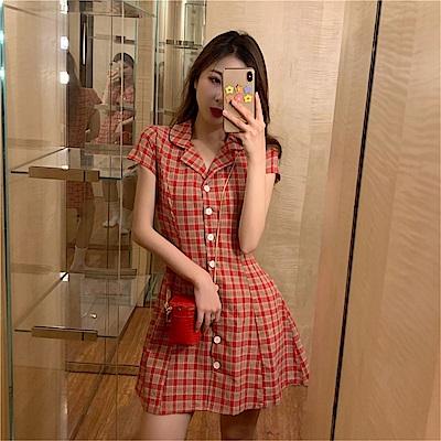 DABI 韓系修身格紋復古西裝領短袖洋裝