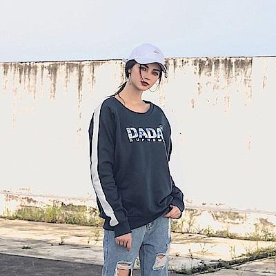 DADA SUPREME 迷彩印花落肩大學T-女-深藍