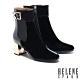 短靴 HELENE SPARK 復古時髦純色繫帶造型高跟短靴-黑 product thumbnail 1