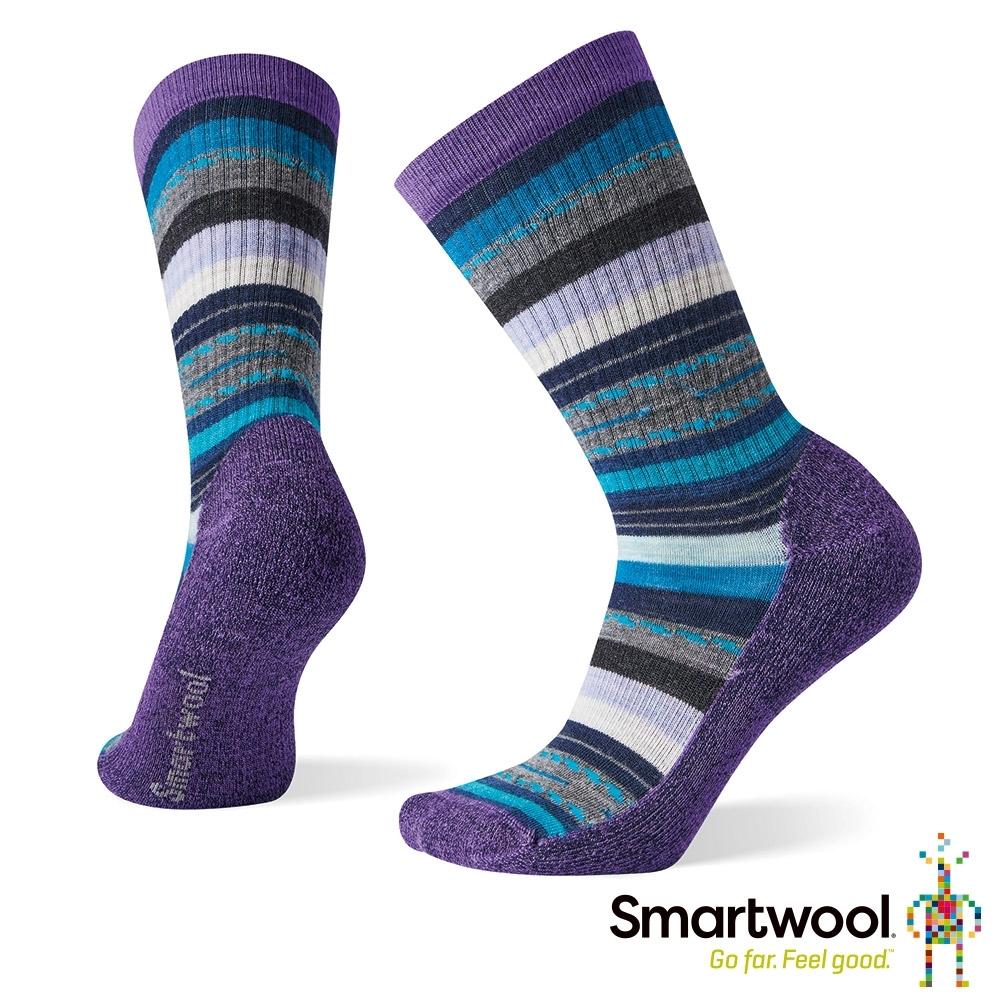 SmartWool 女 輕量減震徒步印花中長襪 蘭紫