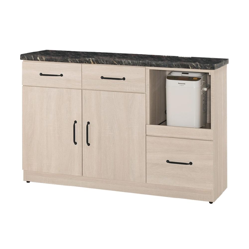 文創集 費利森 現代3.9尺石面拉盤式餐櫃/收納櫃-117.5x41.5x81cm免組