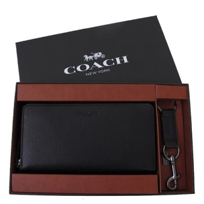 COACH 小牛皮 /  拉鍊式長夾(禮盒套裝/黑色)