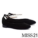 低跟鞋 MISS 21 簡約優雅鍊條踝繫帶方頭低跟鞋-黑
