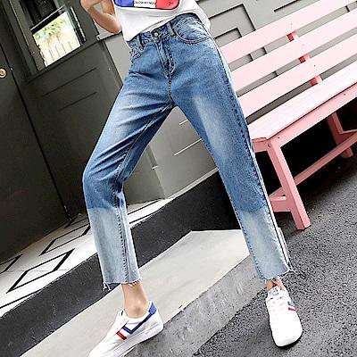 ALLK 漸層配色牛仔褲 藍色(尺寸27-31腰)