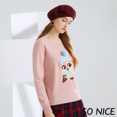 SO NICE甜美貓頭鷹電繡包芯紗上衣