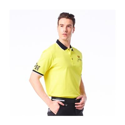 【Jack Nicklaus】金熊GOLF男款素面吸濕排汗POLO衫-黃色