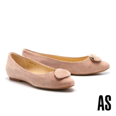 平底鞋 AS 典雅氣質金屬橢圓釦飾全羊皮方頭平底鞋-粉