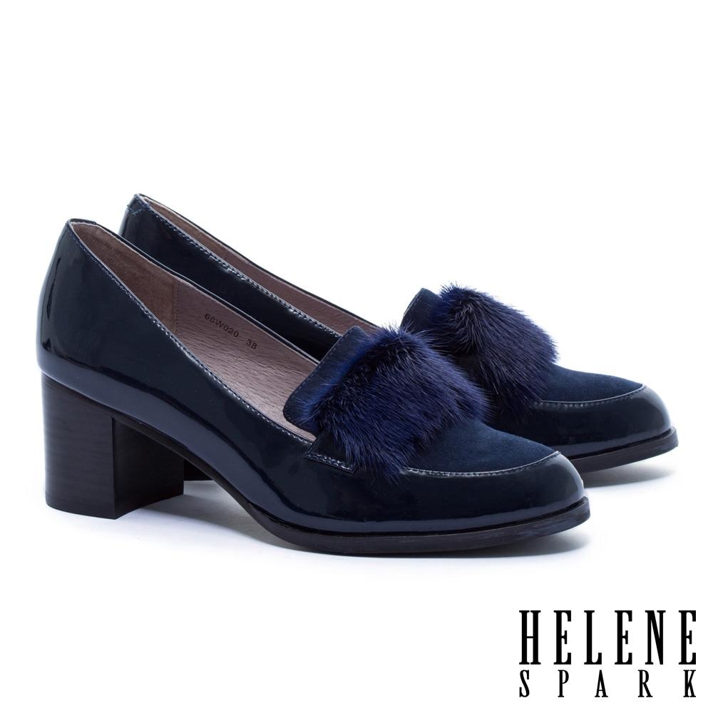 高跟鞋 HELENE SPARK 復古暖感水貂毛全真皮樂福粗高跟鞋-藍