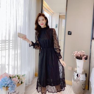 優雅氣質喇叭袖A字裙襬飄逸洋裝S-L(共二色)-Dorri