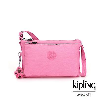 Kipling 甜美糖果粉雙內袋斜背小包-MIKAELA