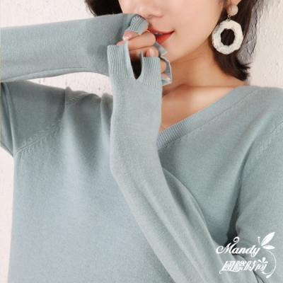 Mandy國際時尚 長袖上衣 簡約氣質V領長袖針織上衣(10色)