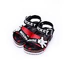 迪士尼 米奇 可愛星星小手造型 魔鬼氈涼鞋-黑
