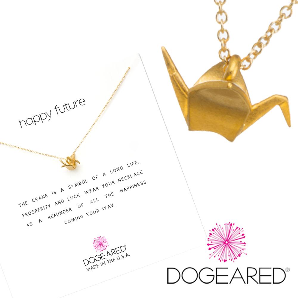 Dogeared 立體千紙鶴 ORIGAMI CRANE 金色項鍊 祈福美好未來 附原廠盒