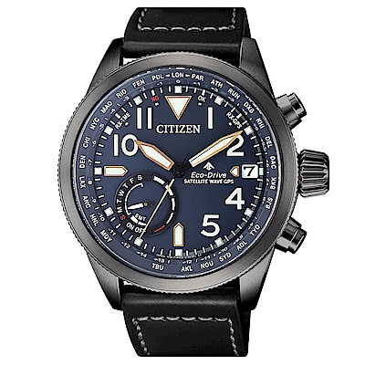 CITIZEN星辰光動能GPS衛星對時真皮手錶(CC3067-11L)-藍X黑/44mm