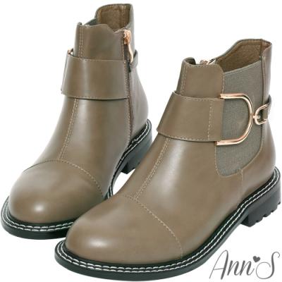 Ann'S大小D金釦切爾西平底短靴-灰(版型偏小)