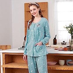 睡衣 小貴賓狗 針織棉長袖兩件式睡衣(R77209-4藍綠色) 蕾妮塔塔
