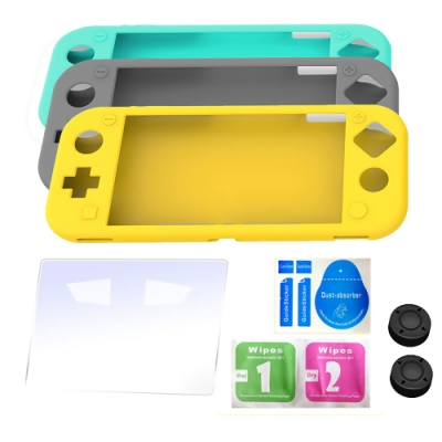 iplay Switch Lite矽膠保護套 贈9H鋼化玻璃貼 贈按鍵保護帽任天堂