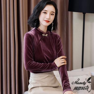 Mandy國際時尚 長袖上衣 秋 優雅金絲絨中國風盤釦領上衣(2色)