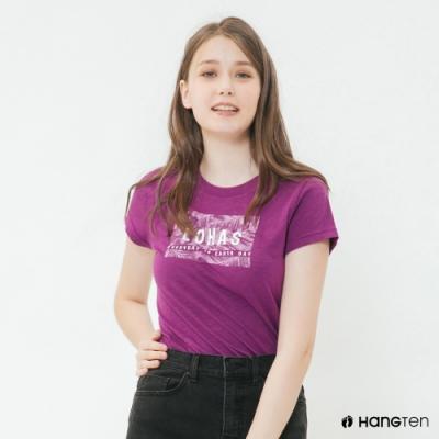 Hang Ten-女裝-有機棉-樂活圖印T恤-紫