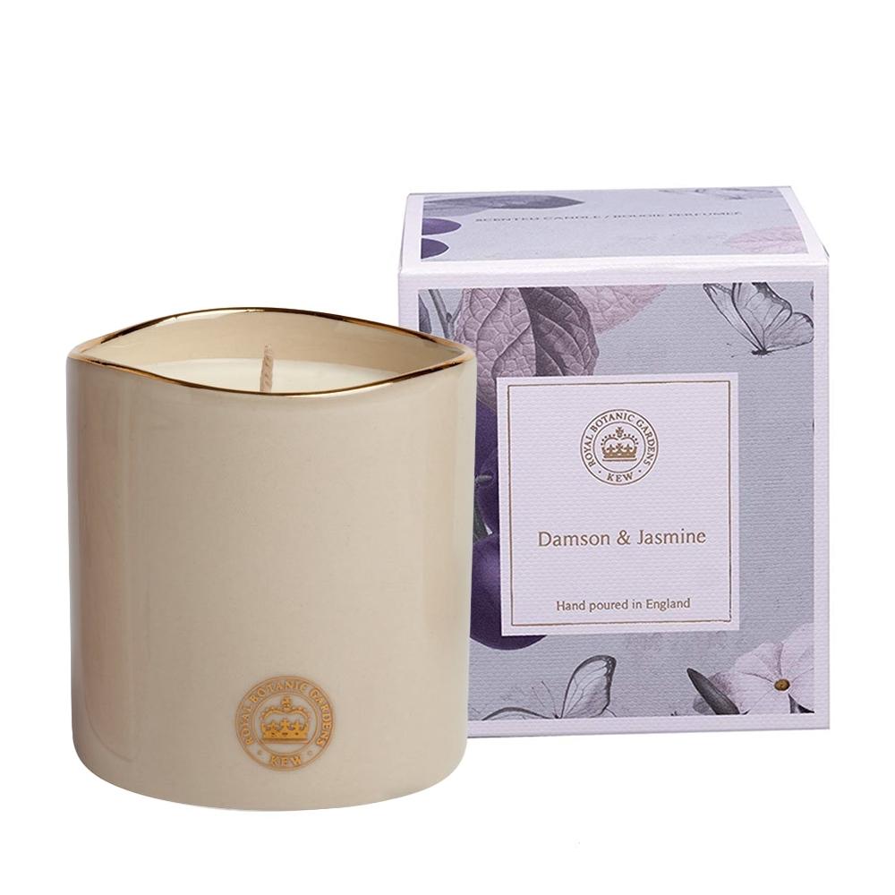 Kew 英國品牌 茉莉李子香氛大豆蠟燭陶瓷罐180g