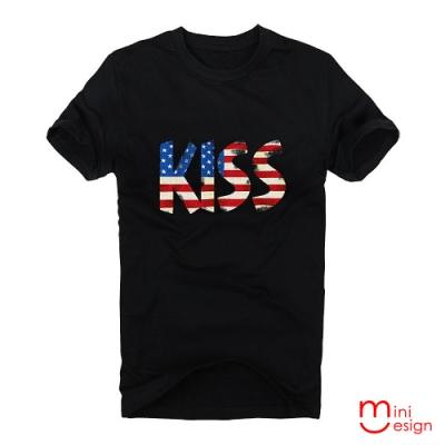 (男款)KISS美國國旗潮流短T男設計短T 三色-Minidesign