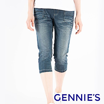 Gennies專櫃-經典刷色一體成型牛仔五分褲-藍(T4F65)